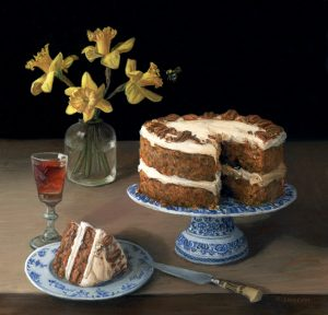 carrot cake and daffodils still life painting by Rebecca Luncan