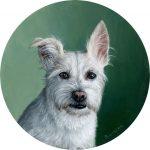 Jefferson, oil on aluminum white terrier portrait oil paitning by Rebecca Luncan