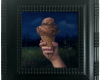 Still life painting of chocolate ice cream cone at night with lightning bugs by Rebecca Luncan