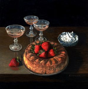 june bearer strawberries and angel food cake still life painting by Rebecca Luncan