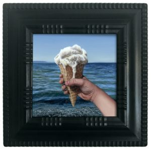 Vanilla ice cream cone at the beach oil painting by Rebecca Luncan