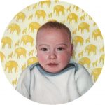 Miniature baby painting, Portrait of the artists son by Rebecca Luncan