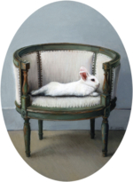 Reclining White Rabbit on French Chair, oil painting miniature by Rebecca Luncan