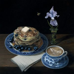 still life painting of blueberry pancakes with late and purple iris by Rebecca Luncan, oil on copper