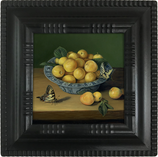 Plums in blue and white porcelain bowl with swallowtail Butterflies. Dutch inspired Still life painting by Rebecca Luncan