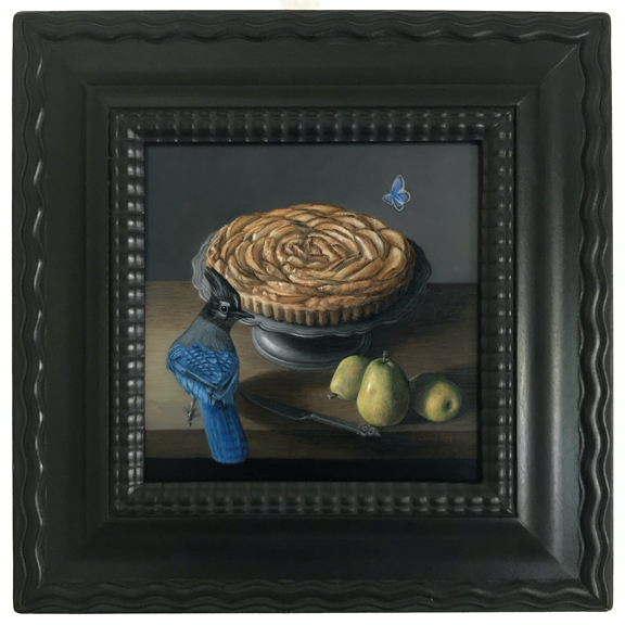Dutch ripple frame Still life French Pear Tart and steller Jay oil painting by Rebecca Luncan